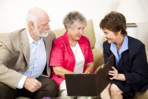 Senior couple meeting with financial planner