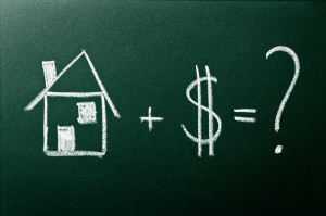 Image of chalkboard with house plus dollar sign equals question mark