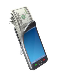 Image of a cell phone with cash